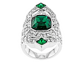 White Crystal Green Crystal Silver Tone Deco Ring
