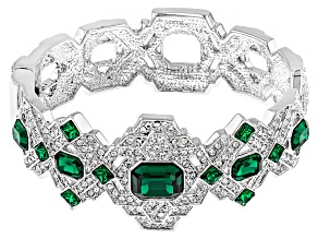 White Crystal Green Crystal Silver Tone Deco Bracelet