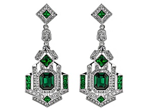 White Crystal Green Crystal Silver Tone Deco Earrings