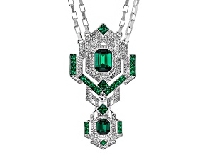 White Crystal Green Crystal Silve Tone Deco Necklace
