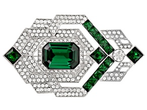 Off Park ® Collection White And Green Crystal Silver Tone Deco Brooch