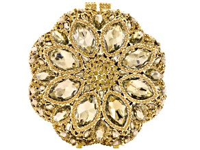 Champagne Crystal Gold Tone Flower Clutch