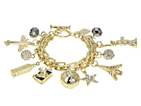 White Crystal Gold Tone Travel Charm Bracelet
