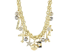 White Crystal Gold Tone Travel Charm Necklace
