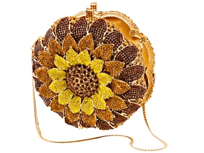 Multicolor Crystal Gold Tone Sunflower Clutch
