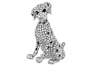 White And Black Crystal Silver Tone Dalmation Brooch