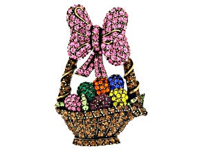 Multicolor Crystal Antiqued Gold Tone Easter Basket Brooch