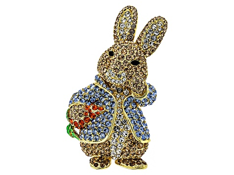 Multicolor Crystal Gold Tone Bunny Brooch