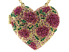 Multicolor Crystal Gold Tone Heart Shaped Locket