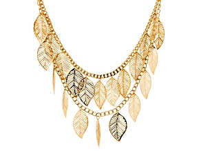 Gold Tone Multi Strand Leaf Necklace