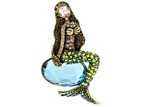 Multicolor Crystal Antiqued Gold Tone Mermaid Brooch