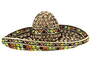 Multicolor Crystal Antiqued Gold Tone Sombrero Brooch