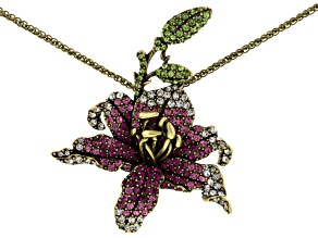 Multicolor Crystal Antiqued Gold Tone Blooming Lily Pin Pendant With Chain