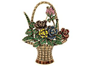 Multicolor Crystal Antiqued Gold Tone Flower Basker Brooch