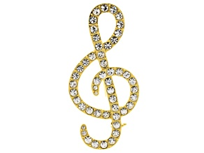 White Crystal Gold Tone Treble Clef Brooch