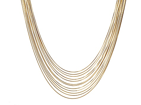 Yellow Gold Tone 12-Row Snake Link Chain Necklace 31 inches