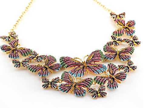 Multicolor Crystal Gold Tone Butterfly Statement Necklace