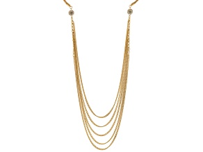 White Crystal Gold Tone Multi Layer Necklace