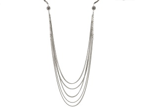 White Crystal Silver Tone Multi Layer Necklace