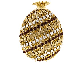 Multicolor Crystal Gold Tone Pineapple Clutch