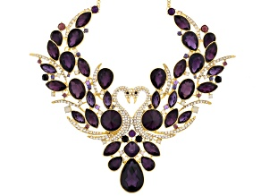 Multicolor Crystal Gold Tone Swan Statement Necklace