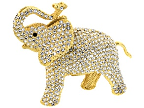 White And Black Swarovski Elements ™ Gold Tone Elephant