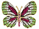 Multicolor Crystal Gold Tone Butterfly Brooch Set Of 2