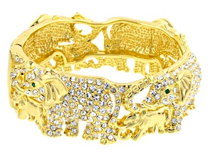 White And Green Crystal Gold Tone Elephant Bracelet