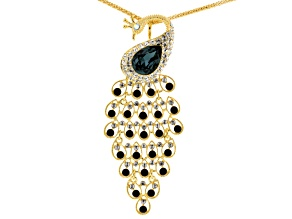 Multicolor Crystal Gold Tone Peacock Pin/Pendant With Chain