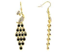 Multicolor Crystal Gold Tone Peacock Dangle Earrings