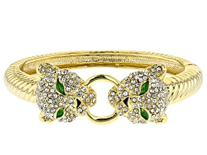 White Crystal Multicolor Enamel Gold Tone Jaguar Bracelet