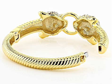 White Crystal Multicolor Enamel Gold Tone Jaguar Bracelet