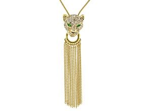 White Crystal Multicolor Enamel Gold Tone Sliding Adjustable Jaguar Necklace