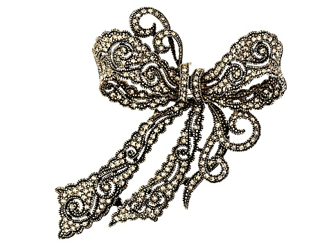 Brown Swarovski Elements ™ Antiqued Gold Tone Bow Brooch