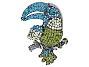 Multicolor Swarovski Elements ™ Antiqued Silver Tone Toucan Pin/Pendant