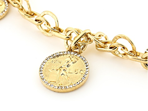 White Crystal Gold Tone Multi Chain Coin Necklace