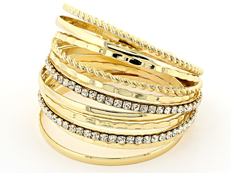 White Crystal Gold Tone Bangle Set Of 12