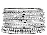 White Crystal Silver Tone Bangle Set Of 12