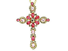 Multicolor Crystal Gold Tone Vintage Cross Pin/Pendant With Chain