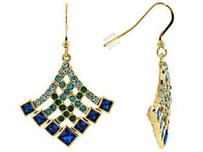 Multicolor Crystal Gold Tone Dangle Earrings