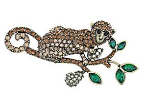 Multicolor Crystal Antiqued Gold Tone Monkey Brooch