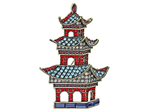 Multicolor Crystal Antiqued Gold Tone Japanese Pagoda Brooch