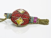 Multicolor Crystal Antiqued Gold Tone Lantern Tassel Pin/Pendant With Chain