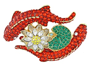 Multicolor Crystal Gold Tone Koi Fish Brooch