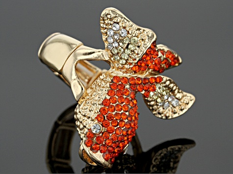 Multicolor Crystal Gold Tone Koi Fish Stretch Ring
