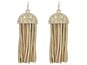 White Crystal Gold Tone Dangle Tassel Earrings