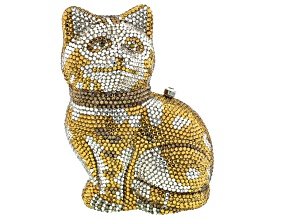 Multicolor Crystal Gold Tone Cat Clutch