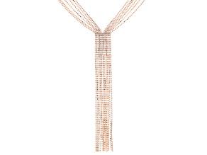 White Crystal Rose Tone Tassel Necklace