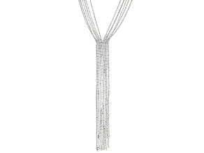 White Crystal Silver Tone Tassel Necklace