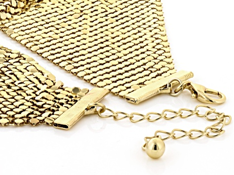Gold Tone Mesh Bandana Necklace